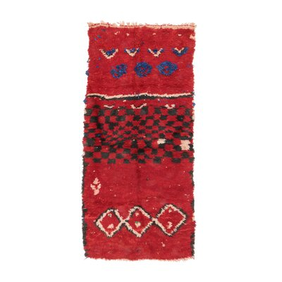 Azilal Vintage Moroccan Hand Knotted Wool Red/Black Area Rug
