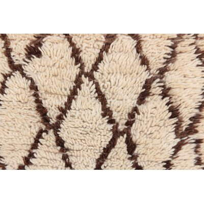 Azilal Vintage Moroccan Hand Knotted Wool Cream/Brown Area Rug