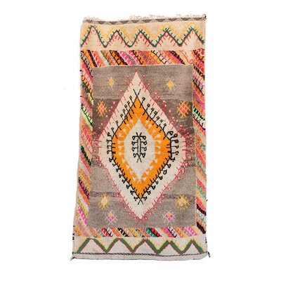 Azilal Vintage Moroccan Hand Knotted Wool Beige/Orange/Brown Area Rug