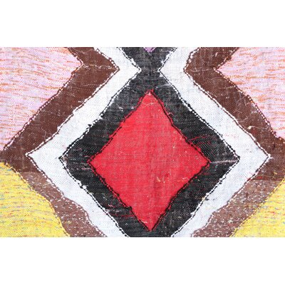Kilim Boucherouite Vintage Moroccan Hand Knotted Wool Red/Black Area Rug