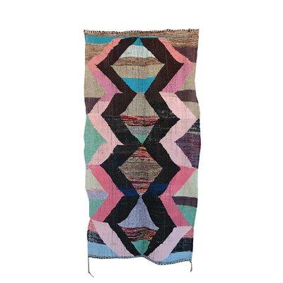 Kilim Boucherouite Vintage Moroccan Hand Knotted Wool Pink/Black Area Rug