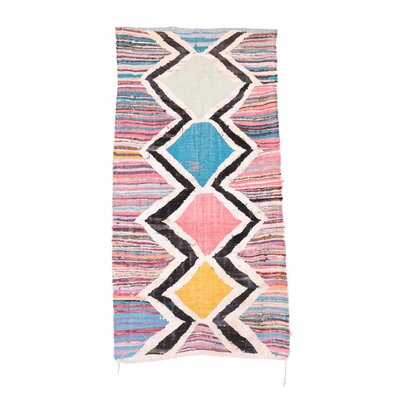 Kilim Boucherouite Vintage Moroccan Hand Knotted Wool Pink/Black Area Rug