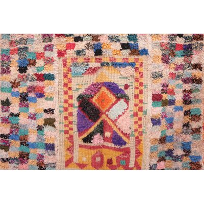 Boucherouite Vintage Moroccan Hand Knotted Wool Pink/Orange Area Rug