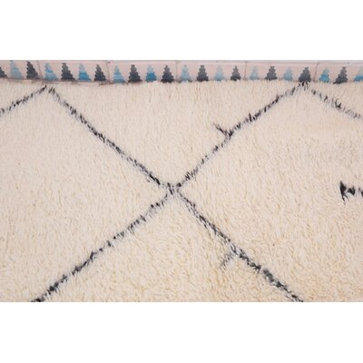 Beni Ourain Moroccan Hand Knotted Wool Cream/Brown Area Rug