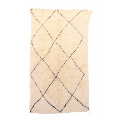 Beni Ourain Moroccan Hand Knotted Wool Cream/Black Area Rug Rug Size: 68 x 101