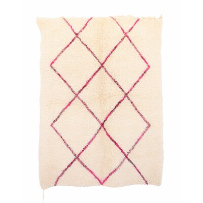 Beni Ourain Moroccan Hand Knotted Wool Cream/Red Area Rug