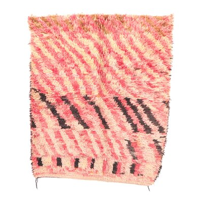 Talsint Vintage Moroccan Hand Knotted Wool Pink/Yellow/Brown Are Rug