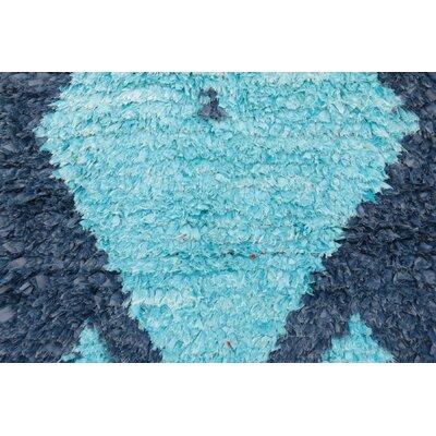 Boucherouite Vintage Moroccan Flat-Woven Blue Area Rug