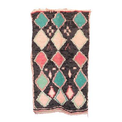 Boucherouite Vintage Moroccan Flat-Woven Pink/Black Area Rug