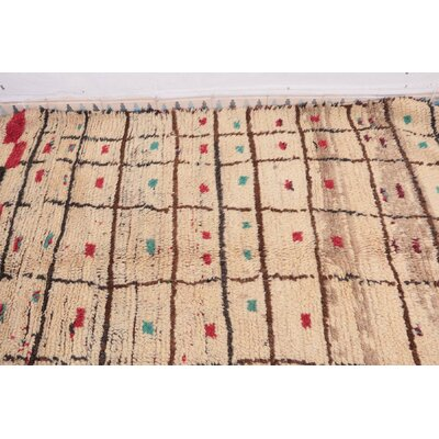 Azilal Vintage Moroccan Hand Knotted Wool Beige/Pink Area Rug