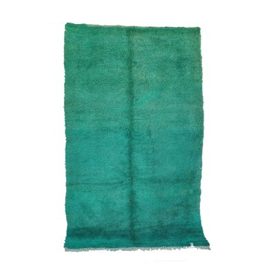 Beni MGuild Vintage Moroccan Hand Knotted Wool Green Area Rug