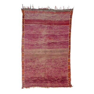 Beni MGuild Vintage Moroccan Hand Knotted Wool Pink Area Rug