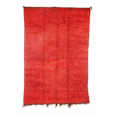 Zemmour Vintage Moroccan Hand Knotted Wool Red Are Rug