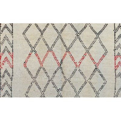 Beni Ourain Vintage Moroccan Hand Knotted Wool Red/Cream/Black Area Rug