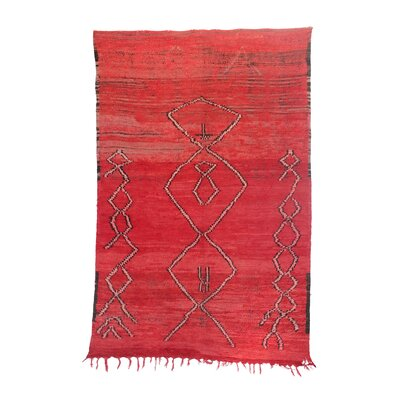 Beni MGuild Vintage Moroccan Hand Knotted Wool Red Area Rug