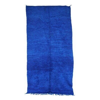 Beni MGuild Vintage Moroccan Hand Knotted Wool Blue Area Rug