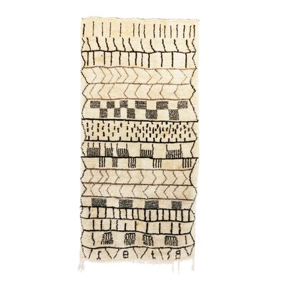 Azilal Vintage Moroccan Hand Knotted Wool Beige/Black/Brown Area Rug