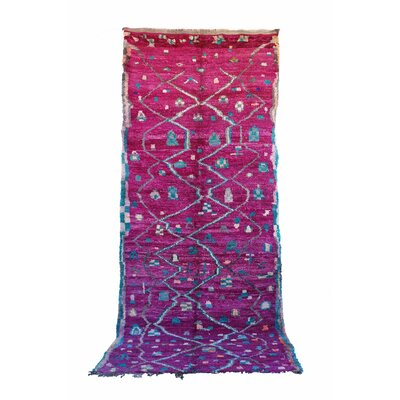 Talsint Vintage Moroccan Hand Knotted Wool Pink/Purple Are Rug