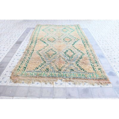 Talsint Vintage Moroccan Hand Knotted Wool Beige/Teal Are Rug
