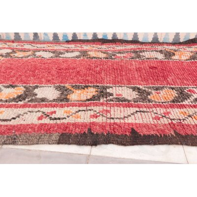 Azilal Vintage Moroccan Hand Knotted Wool Coral/Brown Area Rug