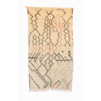 Azilal Vintage Moroccan Hand Knotted Wool Beige/Black/Pink Area Rug