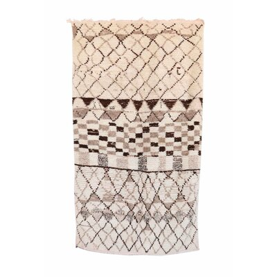 Azilal Vintage Moroccan Hand Knotted Wool Cream/Gray/Brown Area Rug