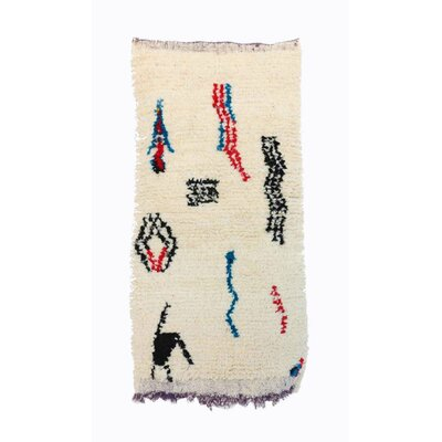 Beni Ourain Moroccan Hand Knotted Wool Natural Cream White/Red Area Rug