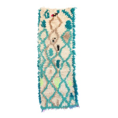 Azilal Vintage Moroccan Hand Knotted Wool Cream/Teal Area Rug