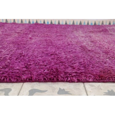Beni MGuild Vintage Moroccan Hand Knotted Wool Purple/Cream Area Rug