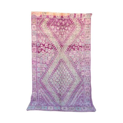 Talsint Vintage Moroccan Hand Knotted Wool Purple Are Rug