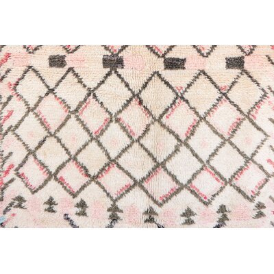 Beni Ourain Moroccan Hand Knotted Wool Cream/Pink Area Rug