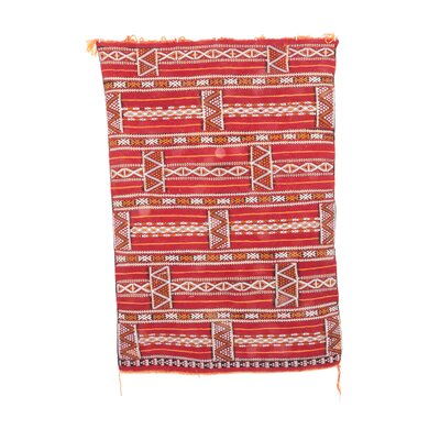 Aknif Moroccan Hand Knotted Wool Red/Yellow Area Rug