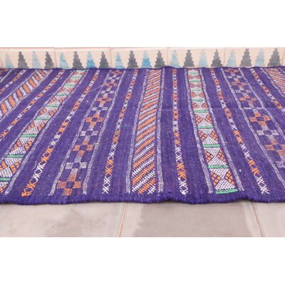 Aknif Moroccan Hand Knotted Wool Purple/White Area Rug