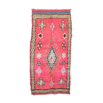 Boucherouite Vintage Moroccan Hand Knotted Wool Red/Green Area Rug