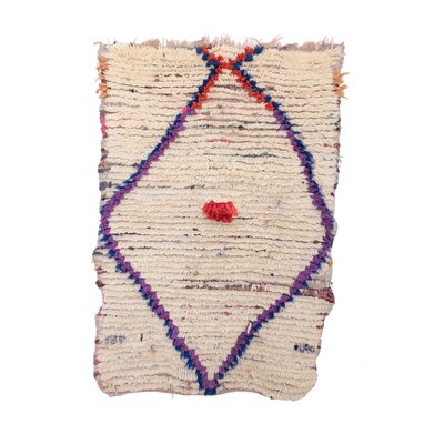 Azilal Vintage Moroccan Hand Knotted Wool Cream/Purple Area Rug