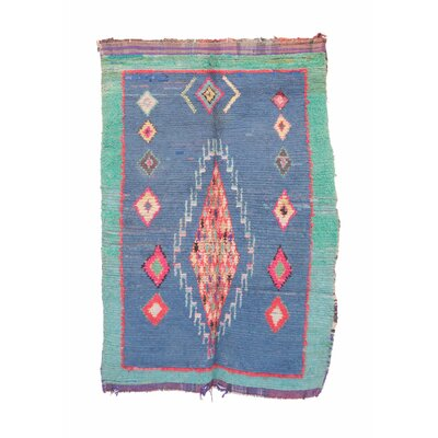 Boucherouite Vintage Moroccan Hand Knotted Wool Blue/Red Area Rug