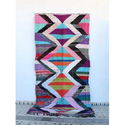 Kilim Boucherouite Vintage Moroccan Hand Knotted Wool Rad/Blue Area Rug