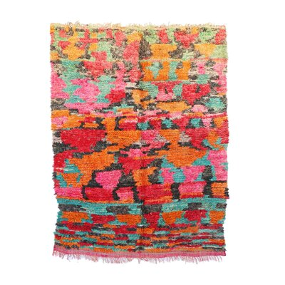 Talsint Vintage Moroccan Hand Knotted Wool Red/Orange/Pink Are Rug