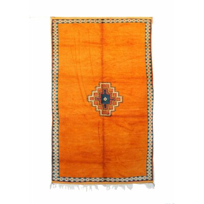 Taznakth Vintage Moroccan Hand Knotted Wool Orange Are Rug