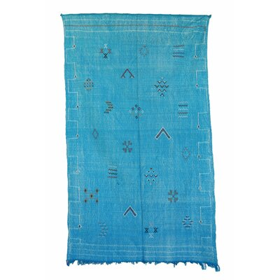 Kilim Moroccan Cactus Silk Hand Knotted Wool Blue Area Rug