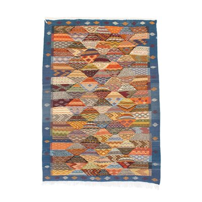 Aknif Moroccan Hand Knotted Wool Blue/Yellow/Orange Area Rug