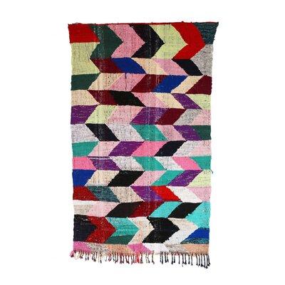 Kilim Boucherouite Vintage Moroccan Hand Knotted Wool Black/Pink Area Rug