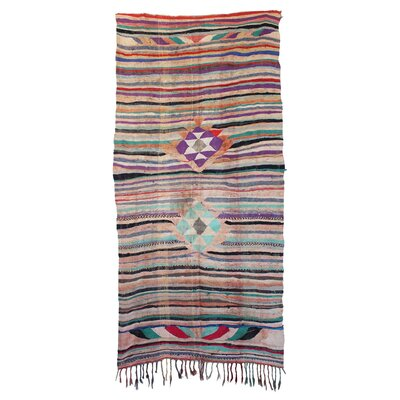 Kilim Boucherouite Vintage Moroccan Hand Knotted Wool Gray/Violet Area Rug