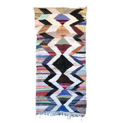 Kilim Boucherouite Vintage Moroccan Hand Knotted Wool Black/White Area Rug