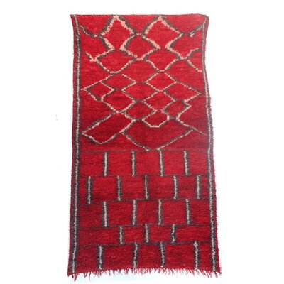 Talsint Vintage Moroccan Hand Knotted Wool Red Are Rug