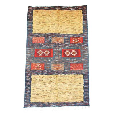 Aknif Moroccan Hand Knotted Wool Yellow/Red/Cream Area Rug