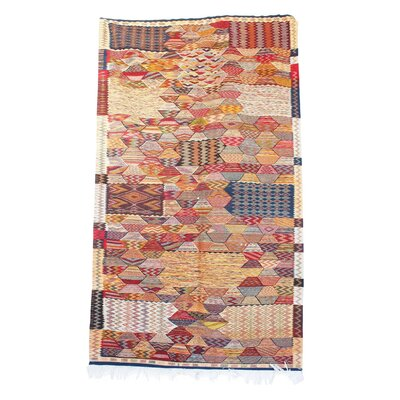 Aknif Moroccan Hand Knotted Wool Navy/Pink Area Rug