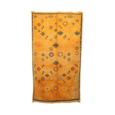 Taznakth Vintage Moroccan Hand Knotted Wool Yellow Are Rug