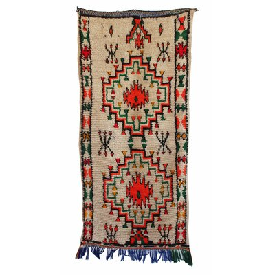 Azilal Vintage Moroccan Hand Knotted Wool Gray/Red/Green Area Rug