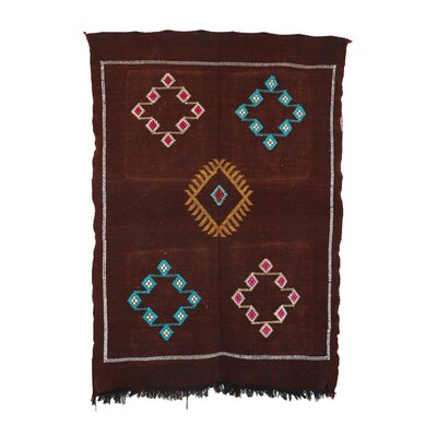 Kilim Moroccan Cactus Silk Hand Knotted Brown Area Rug